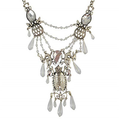 N-6326  Fashion Luxury Noble Style Clear Crystal Drop Multilayer Chian Pendant Necklace for Women Jewelry