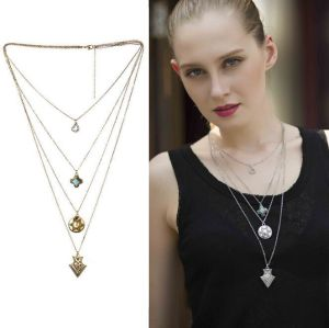 N-5501-S Vintage Silver Multilayers Boho Geometric Heart Pendant Necklace Party Jewelry Gift