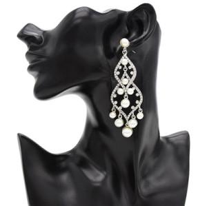 E-4825 Trendy Wedding Earring Full Artificial Pearl Rhinestone Drop Earrings For Women Jewelry Design