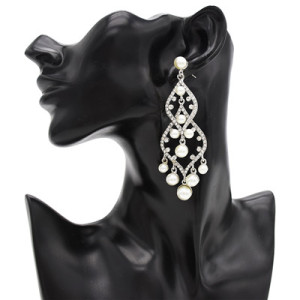 Trendy Wedding Earring Full Artificial Pearl Rhinestone Drop Earrings For Women Jewelry Design