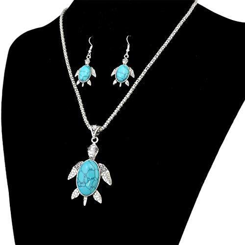 N-6512-T  Bohemian Vintage Ethnic Silver plated Gypsy Tortoise Pendant Necklaces Rhinestone Bracelet Jewelry Set