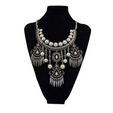 N-5480 Boho Design Multicolor Pearl Carving Rhinestone Flower Rivet Tassel Statement Necklace