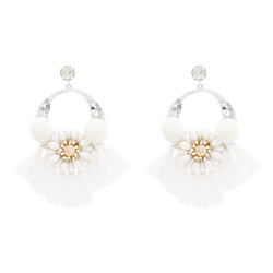 E-4824 Handmade Hairball Tassel Drop Earrings Flower Crystal Earrings for Women