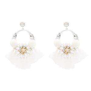E-4824 Handmade Hairball Tassel Drop Earrings Flower Crystal Earrings for Women