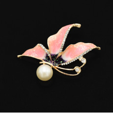 P-0410 3 Colors Rhinestone Gold Metal Pearl Rhinestone Pin Brooches for Women Girl Party Scarf Jewelry