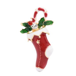 2 Styles Sewing Machine Christmas Socks Brooch Pins for Women Party Fashion Accessories