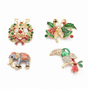 P-0412 4 Styles Trendy Bohemian Animal Gold Rhinestone Brooch For Women Jewelry Design