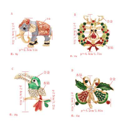 P-0412 4 Styles Trendy Bohemian Animal Gold Rhinestone Brooch For Women Jewelry Design
