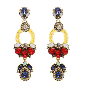E-4823 Big Long Fashion Multilayer Drop Earrings Crystal Rhinestone Waterdrop Stud Earrings