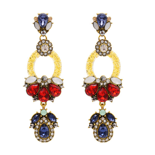 E-4823 Big Long Fashion Multilayer Drop Earrings Crystal Rhinestone Waterdrop Stud Earrings