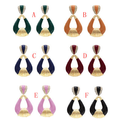 E-4830 6 Colors Personality Trendy Alloy Water Prop Shapes Rhinestone Earring For Women Jewelry Design