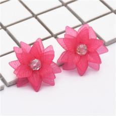E-4827 Elegant Acrylic Petal Flower Stud Earring Rhinestone Crystal Earrings for Women