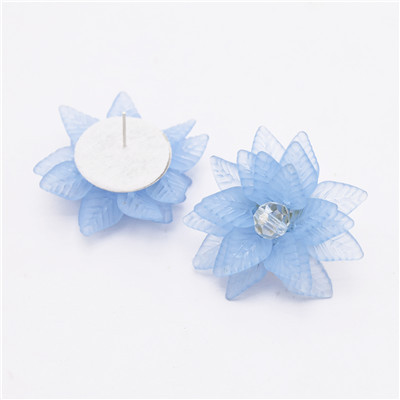 E-4827 Elegant Acrylic Petal Flower Stud Earring Rhinestone Crystal Earrings for Women