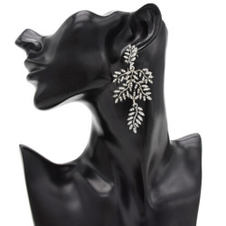 E-4832 2 Colors Personality Trendy Alloy Leaf Shapes Rhinestone Earring For Women Jewelry Design