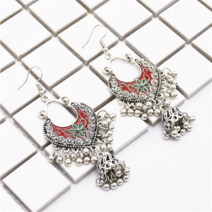 E-4831 Vintage Silver Tassel Drop Dangle Earrings For Women Jewelry Design