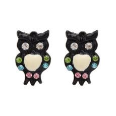 E-1662 6Colors Fashion Charm Cute Enamel Owl Stud Earrings Jewelry for Girls