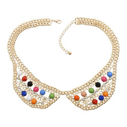 N-0788 Fashion Charming Rhinestone Gold Plated Metal Round Resin Gem Choker Necklace