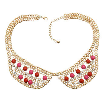 N-0788 Fashion Charming Rhinestone Gold Plated Metal Round Resin Gem Choker Necklace