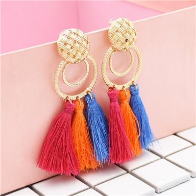 E-4841 6 Colors Bohemian Trendy Metal Ring Tassel Drop Earring For Women Jewelry Design