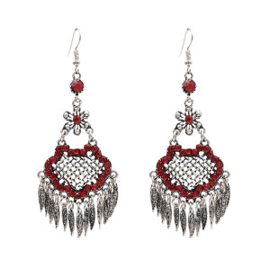 E-4838 Vintage Long Ethnic Drop Dangle Earrings Leaf Pendant Earrings for Women