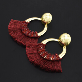 E-4849 4 Colors Gold Metal Round Stud Circle Pendant Earrings Short Tassel  Drop Earrings for Women Boho Party Fashion Jewelry