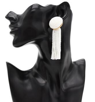 E-4846 Handmade Black White Resin Beads Statement Earrings for Women Wedding Party Jewelry