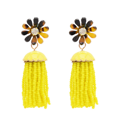 E-4850 Bohemian Flower Crystal Stud Seed Bead Drop Earrings Tassel Fringe Earrings