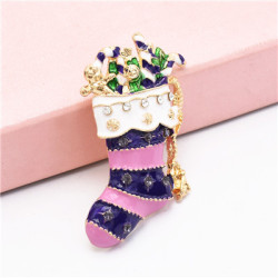 P-0413 Christmas Socks Brooch Pins for Kid Gift Fashion Accessories