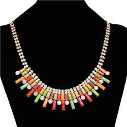 N-0573 New Fashion Charming Rhinestone Chain Oblong Resin Gem Choker Necklace