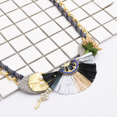 N-7116 Bohemian Statement Choker Necklace Crystal Beads Artificial Pearls Tassel Pendant Bib Chunky Necklace