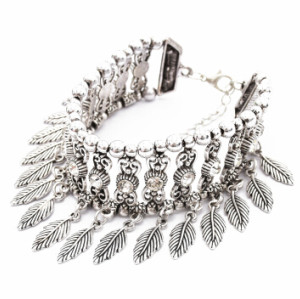 B-0909  Vintage Silver Rhinestone Leaf Pendant Bracelets for Women Bohemian Wedding Party Jewelry