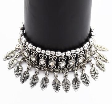B-0909  Vintage Silver Rhinestone Leaf Pendant Bracelets for Women Bohemian Wedding Party Jewelry