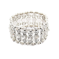 B-0910 2 Styles Trendy Vintage Silver Carved Flower Rhinestone Bracelet For Women Jewelry Design