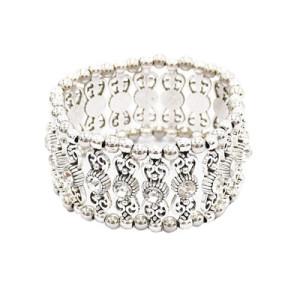 B-0910 2 Styles Trendy Vintage Silver Carved Flower Rhinestone Bracelet For Women Jewelry Design