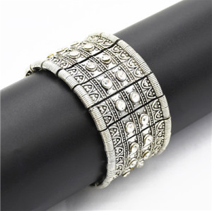 B-0911 Trendy Vintage Silver Carved Crystal Rhinestone Bracelet For Women Jewelry Design
