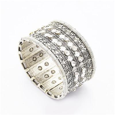 B-0911 Trendy Vintage Silver Carved Crystal Rhinestone Bracelet For Women Jewelry Design
