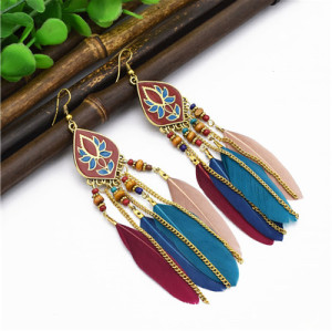 E-4855 4 Colors Trendy Alloy Tassel Bead Feather Earring For Women Jewelry Design