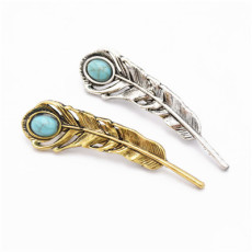 P-0414 Trendy Simple Silver Leaf Turquoise Brooch Coat Cardigan Pin