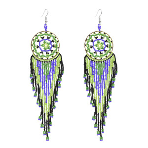 E-4863 Handmade Bohemian Big Long Drop Dangle Earrings Fringe Tassel Beaded Earring