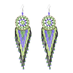 E-4863 * Handmade Bohemian Big Long Drop Dangle Earrings Fringe Tassel Beaded Earring