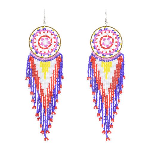 E-4863 Handmade Bohemian Big Long Drop Dangle Earrings Fringe Tassel Beaded Earring