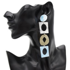 E-4864 5 Colors Trendy Resin Three Section Drop Earring For Women Jewelry Design