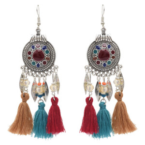 E-4862 4 Colors Ethnic Thread Tassel Resin Beads Long Drop Earrings for Women Boho Festival Party Jewelry
