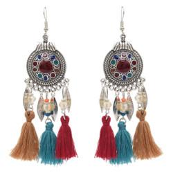 E-4862 4 Colors Ethnic Thread Tassel Resin Beads Long Drop Earrings for Women Boho Festival Party Jewelry