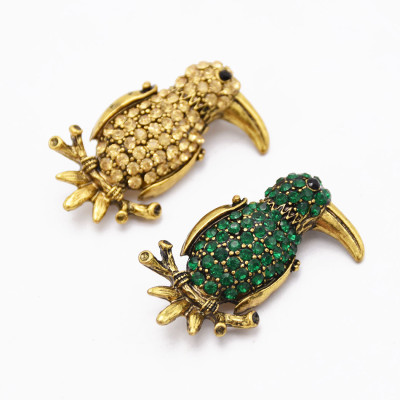 P-0420 Vintage Style Silver Bronze Alloy Green Champagne Rhinestone Bird Pin Brooch For Women