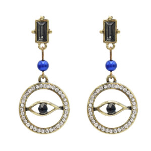 E-4860 Vintage Gold Rhinestone Blue Evil Eye Drop Earrings for Women Boho Party Jewelry