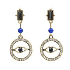 E-4860 Vintage Gold Rhinestone Blue Evil Eye Drop Earrings for Women Boho Party Jewelry