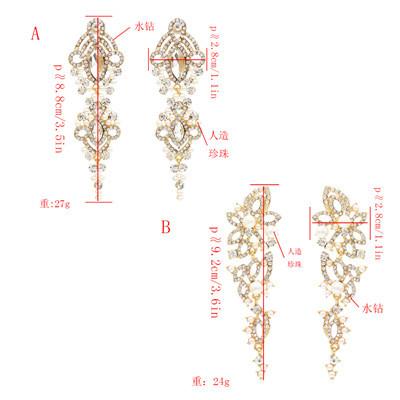E-4871 Elegant Pearl Rhinestone Long Drop Earrings for Women Wedding Party Jewelry
