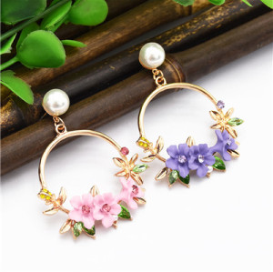 E-4868 Trendy Alloy Flower Pearl Simple Elegant Earring For Women Jewelry Deisgn