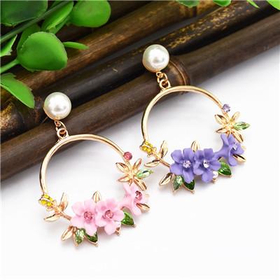 E-4868 Trendy Alloy Flower Pearl Simple Elegant Earring For Women Jewelry Deisgn